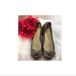 Marc Fisher Gray flats w/silver studded bow